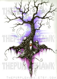 Original Drawing Gothic Tree of Dreams and by thepurplehawk, $70.00