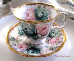 """Original pinner sez: Dad started such wonderful """"collections"""" for each of his granddaughters - he would have liked this one - Royal Albert Jade Tea Cup and Saucer Set"""