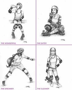 Croquis originaux  Roller Derby par HellyMonsterArt sur Etsy