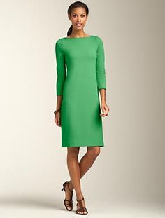 Talbots - Boatneck Ponte Sheath | Dresses | Apparel - Love this love the color.