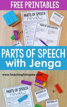 Grade Level: 8 Opinion: I love Jenga and would love this as a student. Tweak: This would get loud, so I'd like to use foam blocks. Parts Of Speech Activities, 5th Grade Activities, Grammar Activities, Teaching Grammar, Grammar Lessons, Teaching Activities, Teaching Writing, Grammar Games, Writing Lessons