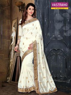 White Pure Silk saree with embroidery work & Pure Silk blouse