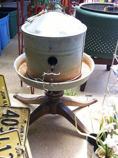 Birdhouse made from poultry feeder