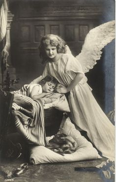 Guardian ANGEL large wings sleeping Edwardian girl Dachshund ? photo postcard in Collectibles | eBay