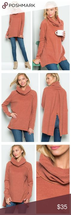 "Light Marsala Brick Split Back Top Top has a loose turtle/cowl neck, long sleeves, and a split in back. Fabric is soft and cozy. Measurements laying flat: armpit to armpit ~ M 20.5"", L 21.5"", length from shoulder to hem ~ M 25.5"", L 26.5"", sleeve length ~ M 24"", L 24.5"" EVIEcarche Tops"