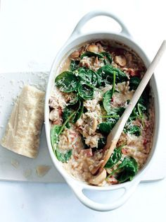 Baked Mushroom, Bacon and Spinach Risotto