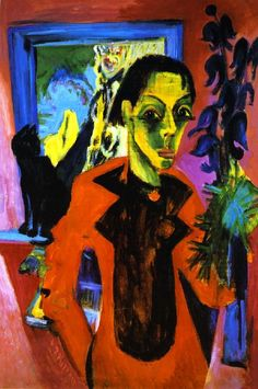 <Ernst Kirchner>       Self Portrait and Cat
