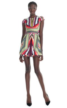 Shop Peter Pilotto Damask Red Che V Dress at Moda Operandi