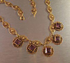 Victorian Amethyst Necklace Gilt Filigree by LynnHislopJewels #vogueteam #vintagegiftideas #antiquejewelry