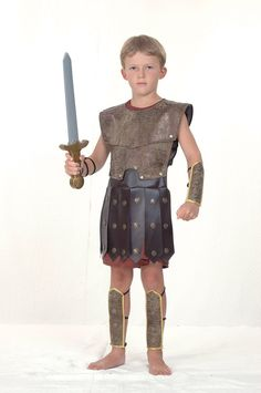 Boys Warrior Costume for Viking Roman Soldier Fancy Dress Outfit Child (XL)