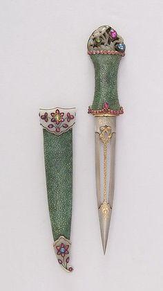 Dagger with Sheath Date: 18th century Culture: Indian Medium: Steel, shark skin, jade, gold, ruby, emerald, sapphire, silver