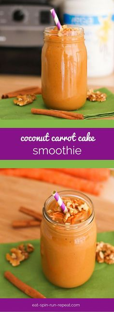 This high-protein, vegan Coconut Carrot Cake Smoothie tastes decadent but is packed with nutrition. Cake for breakfast? Healthy Smoothies, Smoothie Recipes, Healthy Snacks, Healthy Recipes, Superfood Smoothies, Juice Recipes, Carrot Cake Smoothie, Anti Inflammatory Smoothie, Breakfast Cake