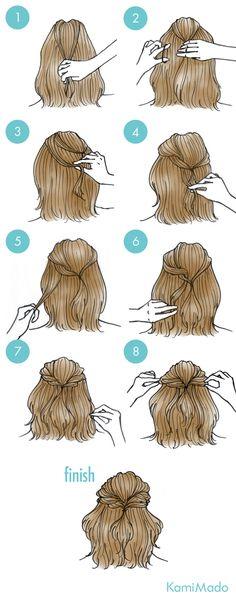 1. 後頭部の髪を2本少量とります。 2. ゴムで結びます。 3. 外側の髪をすくいます。 4. ゴムで結んだ髪の内側に入れ込みます。 5. 同じように、別の髪をすくいます。 6. ゴムの内側に入れ込みます。 7. 反対側も同じように髪をすくって入れ込んでいきます。 8. 毛束を少し引っぱり緩めて完成!