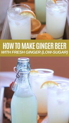 Homemade Ginger Beer! Ginger Soda, Ginger Bug, Ginger Drink, Fresh Ginger, Non Alcoholic Ginger Beer Recipe, Ginger Water, Homemade Ginger Beer, Homemade Alcohol, Homemade Wine