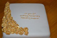 Golden wedding anniversary cake, golden roses www.wonderland-bakery.co.uk