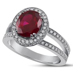 Oval Cut Micropave Red Ruby & Diamonds Split Shank Engagement Ring RU3000