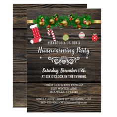 Rustic Wood Winter Holiday Housewarming Party Card - rustic gifts ideas customize personalize