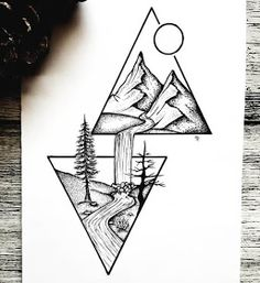 Ink Illustrations - Split Scenery Ink Illustrations with a Meaning Click the image for more art by Mandy Razik - Homepage Cool Art Drawings, Pencil Art Drawings, Art Drawings Sketches, Easy Drawings, Tattoo Drawings, Drawing Ideas, Tattoos, Drawing Drawing, Drawing Poses