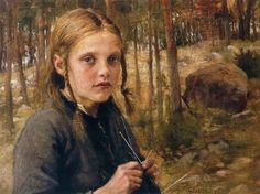 Albert Gustaf Aristides Edelfelt (Finnish painter), 1854 - 1905 A Girl Knitting Socks, 1886 oil on canvas s.l.