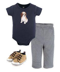 Hudson Baby Navy Dog Bodysuit Set - Infant | zulily
