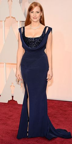 People.com : Jessica Chastain in custom navy Givenchy by Riccardo Tisci from 2015 Oscars: Red Carpet Arrivals