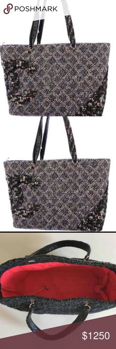 💯CHANEL-TWEED CAMBON LARGE SHOPPER TOTE EXCELLENT USED CONDITION. ABSOLUTELY BEAUTIFUL!! 100% INTACT, AUTHENTIC AND FUNCTIONAL! METAL STUD FEET AT THE BOTTOM. HEAVY TWEED IN COLORS PINK & BLUE. HOT PINK INNER LINING AND OUTSIDE LEATHER LINING. VERY UNIQUE AND HARD TO FIND CHANEL ITEM, ESPECIALLY IN THIS SPECIFIC DESIGN. NO STAINS, TEARS OR ODORS. BUNDLE & SAVE!! (BAG ONLY, POSSIBLE DUST BAG. NO BOX OR CARD)(HOLOGRAM STICKER WITH SERIAL NUMBER IS STILL INTACT AND READABLE)(OPEN TO SPECIFIC…