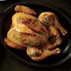 Fresh herbs, butter, and Dijon mustard provide big flavor in this simple roast chicken. It first cooks breast side down, then is turned...