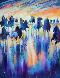 """Hunter's Moon"" by Bruce King. #art #fineart #painting #arttovisit #gallery #painter #artist #santafe #newmexico #canyonroad #okeeffecountry #newmexicotrue #southwest #impressionism #drip #modernart #purple #blue #orange #nativeamerican #indian #horses #equestrian"