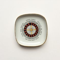 Vintage Limoges porcelain casino roulette wheel Monte Carlo pin dish by GalabeerandtheDog