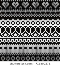 Knitted seamless pattern with fair isle elements Fair Isle Knitting Patterns, Fair Isle Pattern, Knitting Charts, Knitting Designs, Knitting Stitches, Knit Patterns, Stitch Patterns, Cross Stitch Borders, Cross Stitching