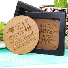 Round Bamboo Coasters With Gift Box