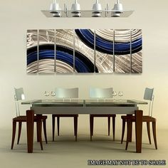 It is my pleasure to offer you this signed Ebb and Flow multiple panel original metal abstract wall art. I skillfully hand-craft each limited edition piece of art with high grade, environmentally friendly aluminum metal. The intricate textures I hand-grind and polish into the metal reveal layers that build dramatic illusions of depth and dimension. This piece is hand painted with shades of dark blue, black and all natural silver. It is designed to expressively reflect 3-D mesmerizing…