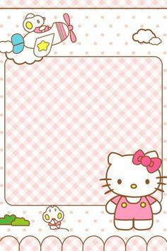 Hello Kitty Backgrounds, Hello Kitty Wallpaper, Sanrio Hello Kitty, Hello Kitty Invitations, Kawaii Background, Page Borders Design, Sanrio Wallpaper, Cute Stationary, Flamingo Party