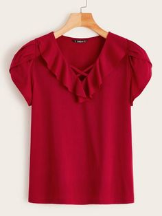 To find out about the Ruffle Trim Petal Sleeve Top at SHEIN, part of our latest T-Shirts ready to shop online today! Petal Sleeve, Latest T Shirt, Ruffle Trim, Types Of Sleeves, Blouse Designs, Sleeve Styles, Shirt Blouses, Fashion News, Tunic Tops