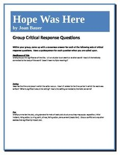 This assignment allows students to work together to come to a deeper understanding of the novel Hope Was Here by Joan Bauer and its components. They answer a set of higher-level questions concerning such elements as theme, point of view, literary devices, etc.