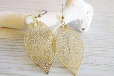 Gold Earrings Gold leaf earrings Big leaf earrings by HLcollection
