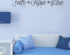 Faith Hope Love Quote Wall Sticker Art Vinyl Removable Decals Home Decor Mural Faith Hope Love Quotes, Bathroom Wall Decals, Quote Wall, Vinyl Crafts, Wall Sticker, Stickers, Home Decor, Art, Art Background