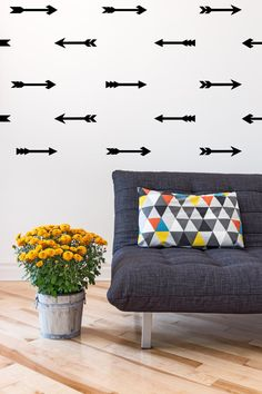 Unexpected wall decor: Assorted Arrow Wall Decals Set. They are the perfect way to add a little decoration to your wall without painting, so much easier too! #etsy #homepolish