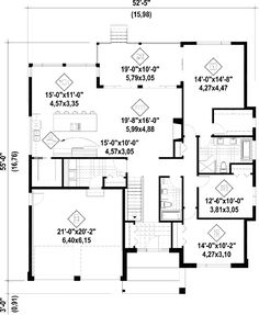 Plan image used when printing Bungalow House Plans, Ranch House Plans, Dream House Plans, Garage Floor Plans, House Floor Plans, Family House Plans, Small House Plans, Kit Homes Uk, Garage Apartment Plans