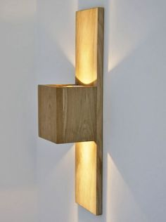 Doble WS - top and bottom, built in light Wooden Wall Lights, Wooden Lamp, Wood Wall, Home Lighting, Modern Lighting, Lighting Design, Wall Fixtures, Light Fixtures, Furniture Plans