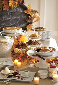 Buffet Dessert Fall Foliage Cookie Bar Outdoor Chili Party Table Decorations Pumpkin Display Pinecones And Flowers Wooden Slabs