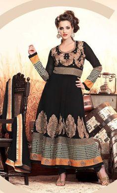 Black Georgette Salwar Kameez ,Indian Dresses - 1