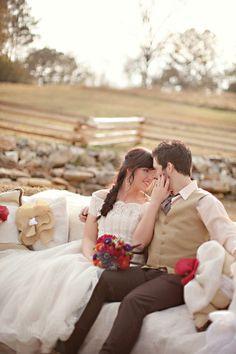 A rustic surprise: http://www.stylemepretty.com/2015/07/06/inspired-by-mila-kunis-ashton-kutchers-surprise-wedding/