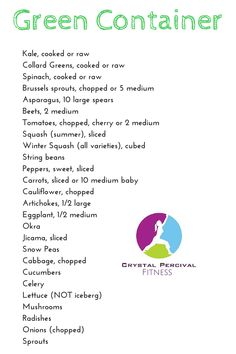 Crystal P Fitness and Food: 21 Day Fix Green Food List