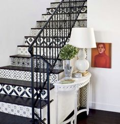 Tile wallpaper on stairs