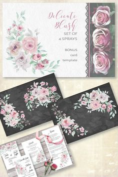 Grey Roses, Blush Flowers, Pink Roses, Wreath Watercolor, Watercolor Flowers, Blush And Grey, Blush Pink, All Paper, Sprays
