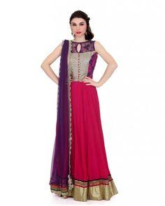 Megenta Pink Anarkali Megenta pink 80gm georgget kali flair with corset yowk in net thread work net and sequence fabric,velvet with gold cut work gota fabrick heavy border on it,softnet purple duptta with gold cut work border on it.  Color : Megenta Pink  #Ootd #Potd #Qotd #Fashion #Shopping #WomenWear #IndianWear #Style #Blogger #Mumbai #Wedding #OutfitOfTheDay #Fashion #Anarkali #Traditional #Shopping #WomenWear #DesignerWear #Designer #FashionDesigner #IndianDesigner
