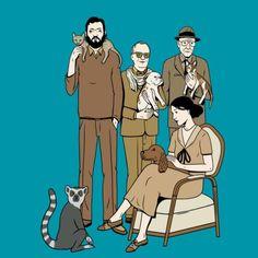 Perros, gatos y lémures. Los Escritores y sus animales.  Portada de David Sánchez.