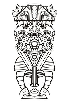 Adult Coloring Pages Mayan Mask 1