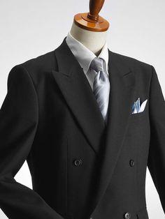 e8fda5f27d253 4ツボタン ダブル フォーマルスーツ アジャスター付 ブラックスーツ 礼服 喪服 セレモニースーツ メンズスーツ 結婚
